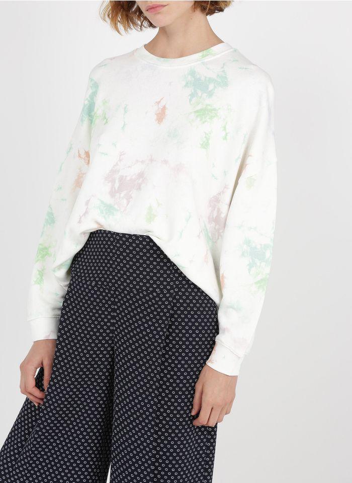 WHISTLES Rundhals-Sweatshirt aus Baumwolle mit Batik-Print in Weiß