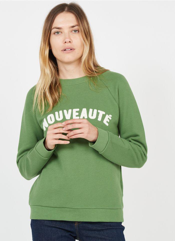 WHISTLES Rundhals-Sweatshirt aus Baumwolle mit Schriftzug in Grün