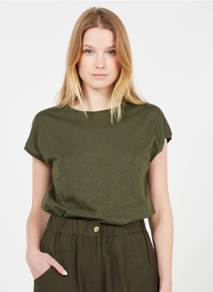 WHISTLES Rundhals-T-Shirt aus Baumwolle in Khaki
