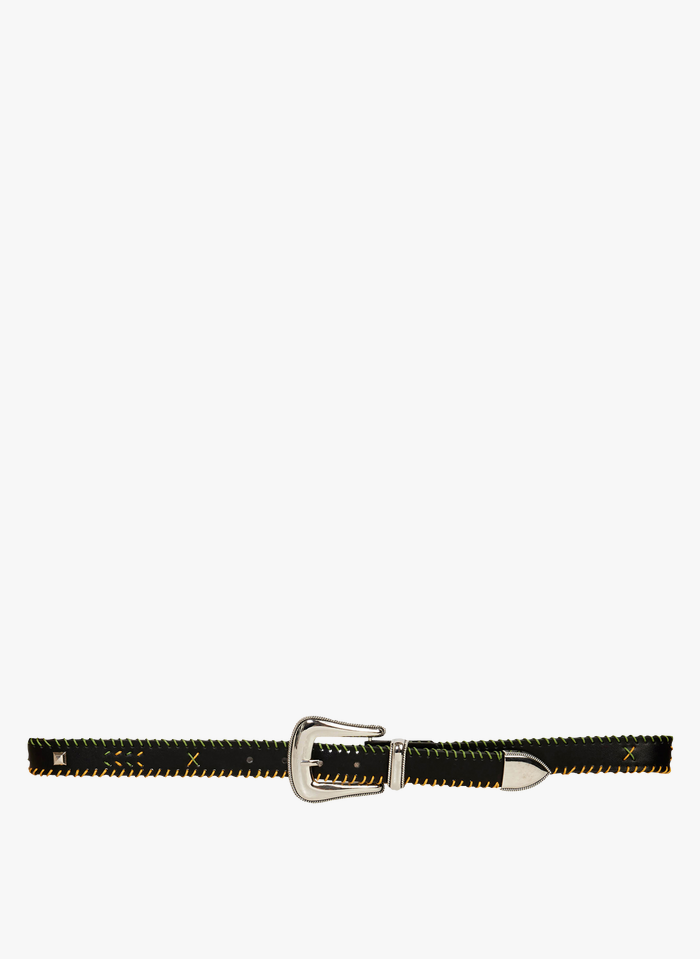 WILD Geflochtener Ledergürtel mit Schnalle in Schwarz