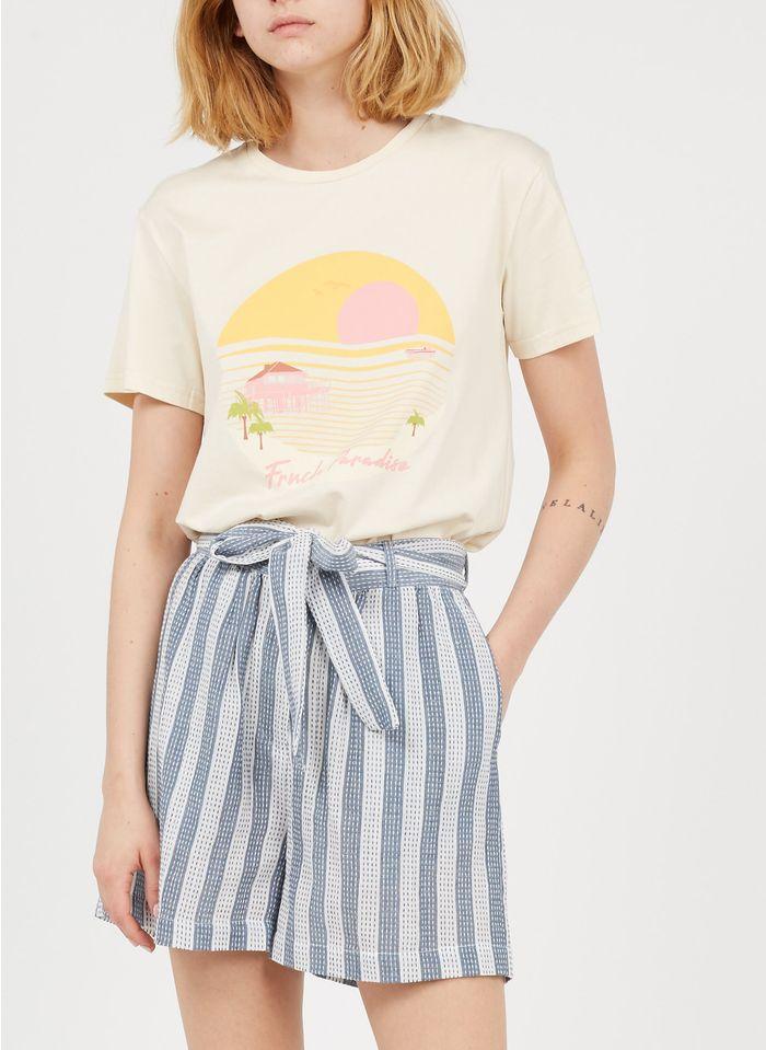 YAS Gestreifte Baumwoll-Shorts mit hohem Bund in Weiß