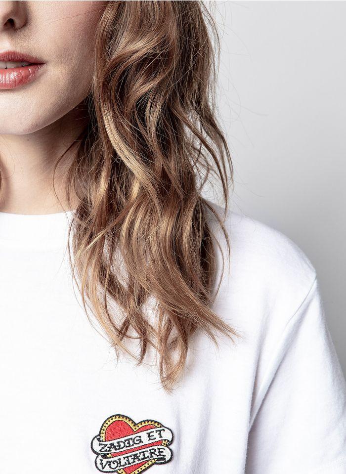ZADIG&VOLTAIRE Besticktes Rundhals-T-Shirt aus Baumwolle in Weiß