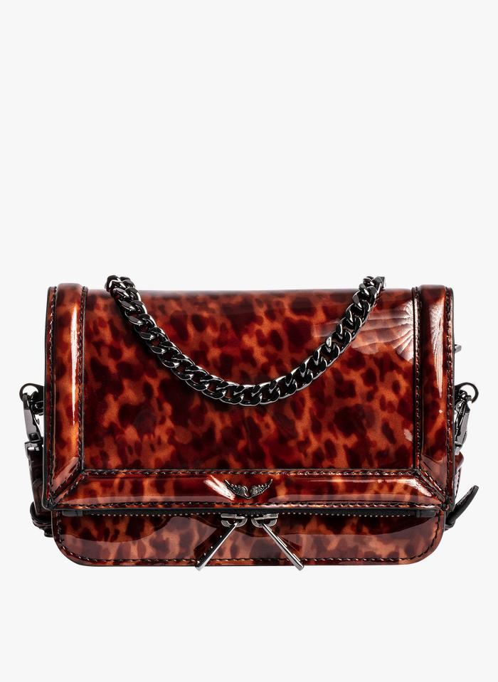 ZADIG&VOLTAIRE Leder-Umschlagtasche mit Leopardenprint in Braun