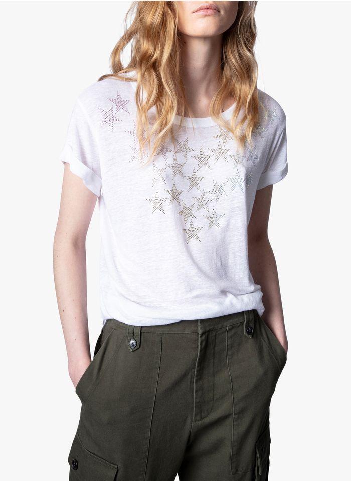 ZADIG&VOLTAIRE Rundhals-T-Shirt aus Leinen-Mix mit Strass in Weiß