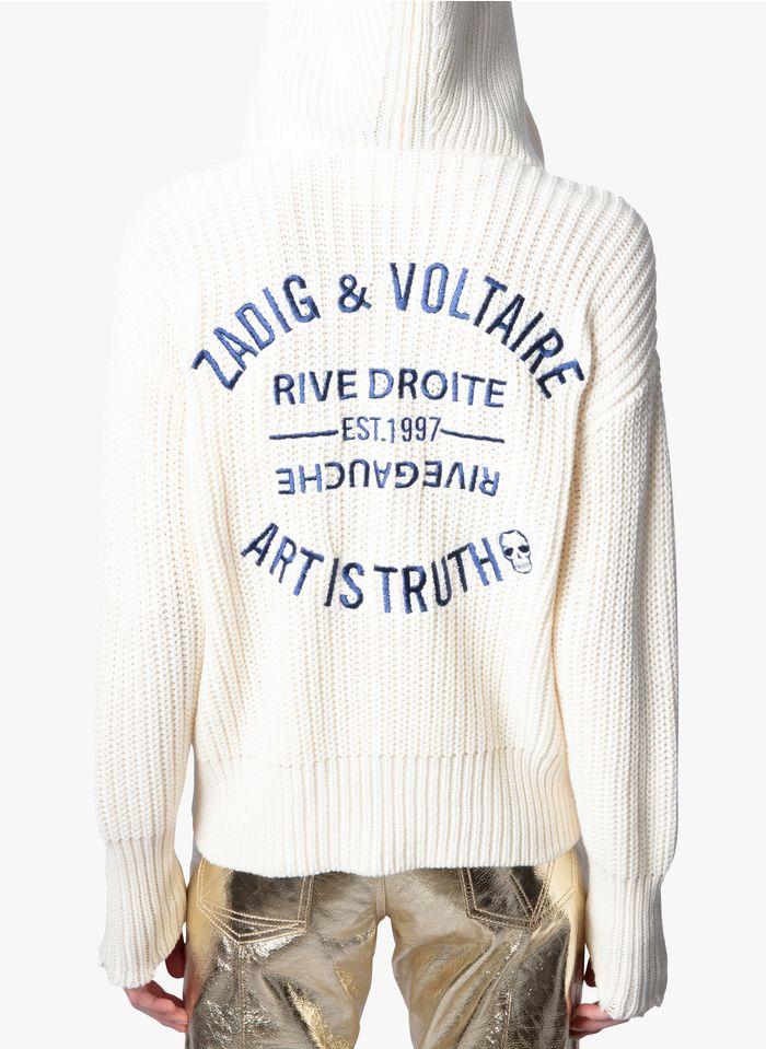 ZADIG&VOLTAIRE Strickjacke aus Baumwolle und Wolle mit Rundhalsausschnitt und Kapuze in Weiß