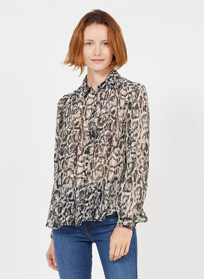 ZAPA Bluse mit klassischem Kragen und Animal-Print in Beige
