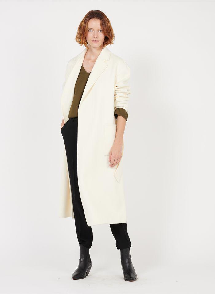 ZAPA Langer Wollmix-Mantel mit Reverskragen in Beige
