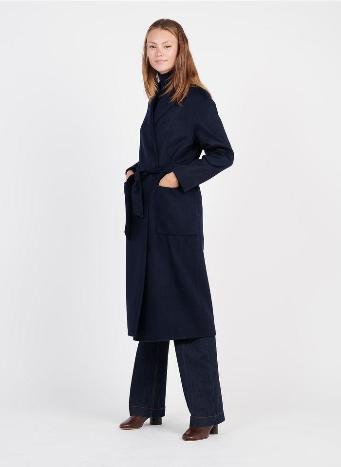 ZAPA Langer Wollmix-Mantel mit Reverskragen in Blau