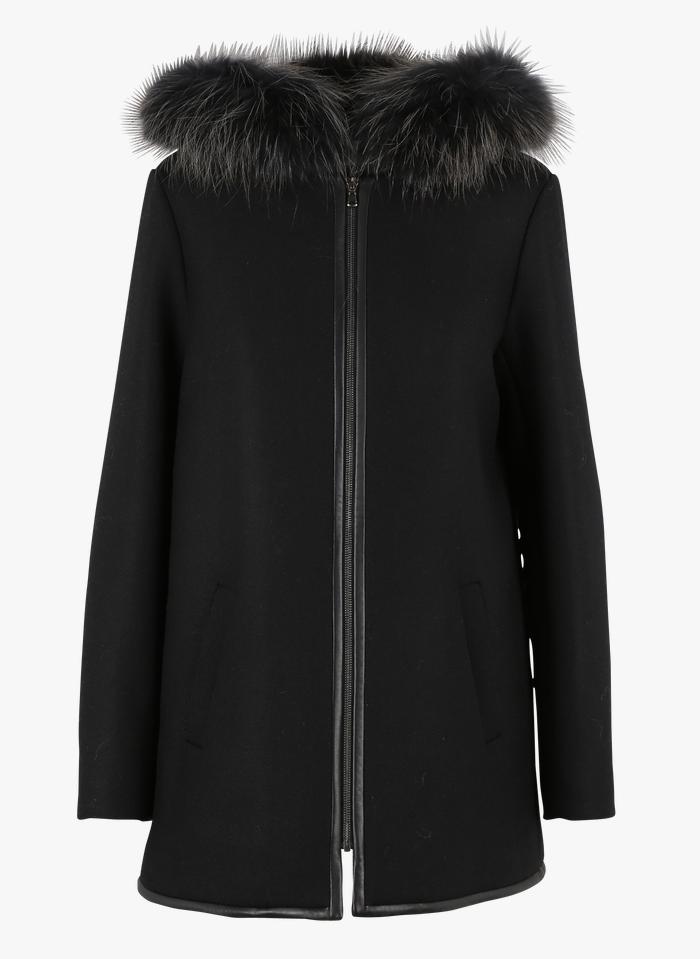 ZAPA Wollmix-Mantel mit Echtfell-Kapuze in Schwarz