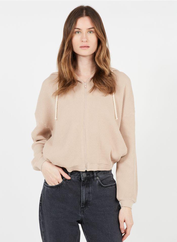 AMERICAN VINTAGE Pink Hooded zip-up terrycloth cotton cardigan