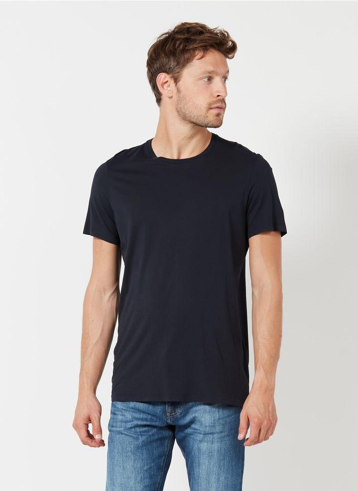 AMERICAN VINTAGE Blue Round-neck buttoned cotton T-shirt