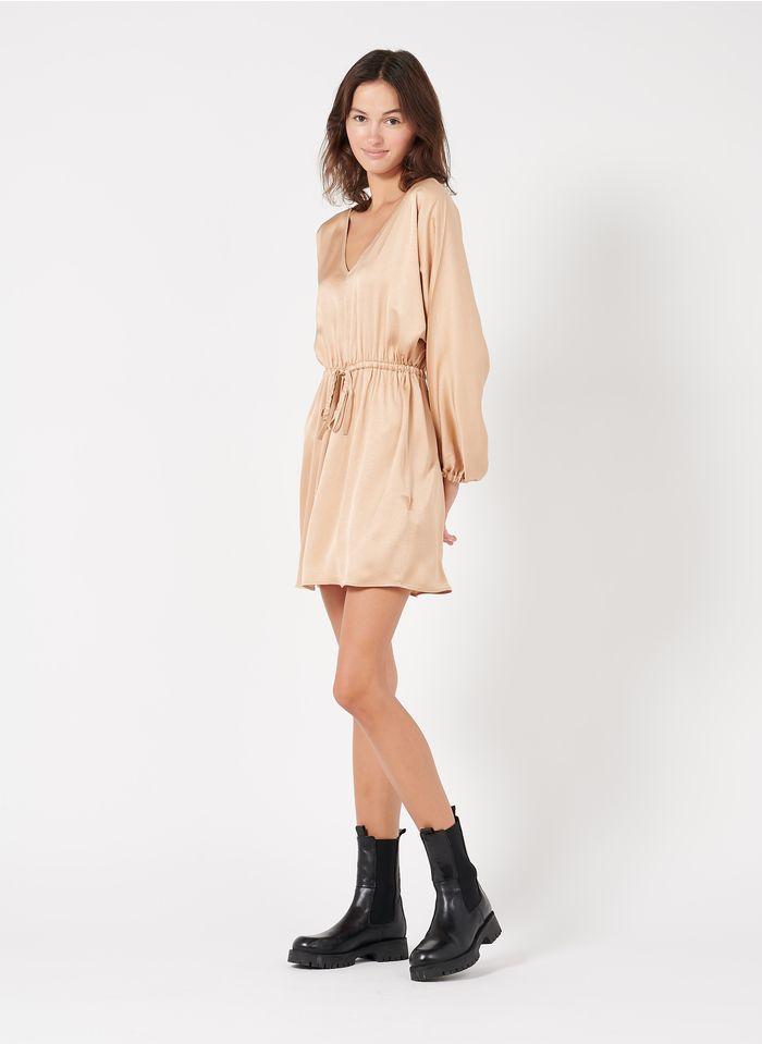 AMERICAN VINTAGE Brown Short loose-fit V-neck satin dress