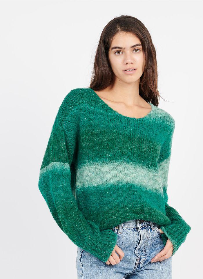 AN'GE Green Round-neck wool-blend sweater