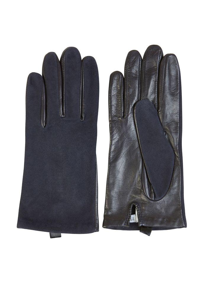 AU PRINTEMPS PARIS Blue Leather and suede gloves