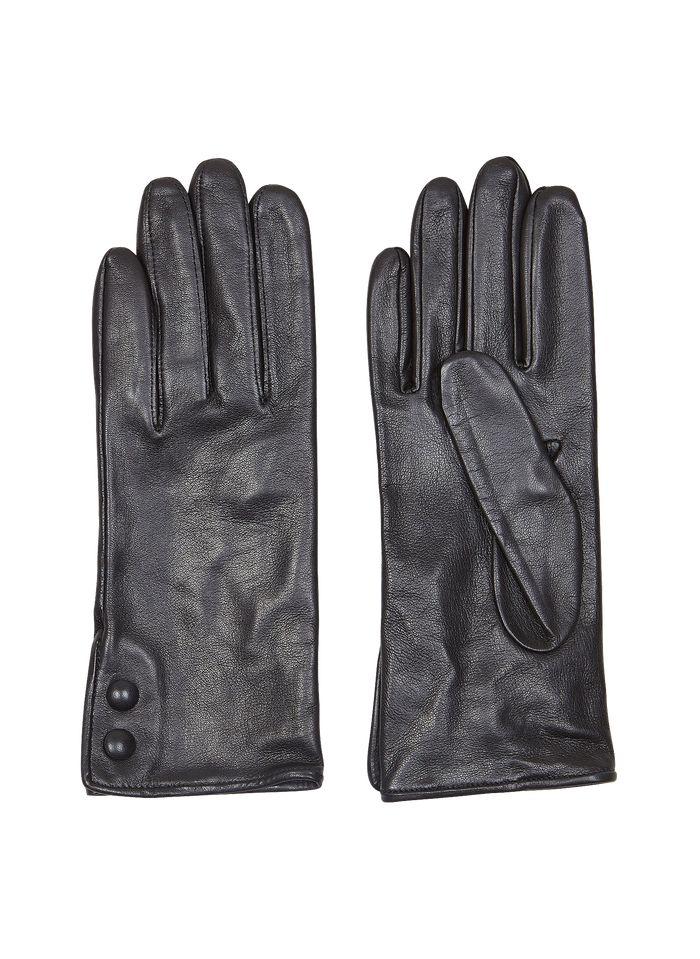 AU PRINTEMPS PARIS Black Leather gloves with buttons
