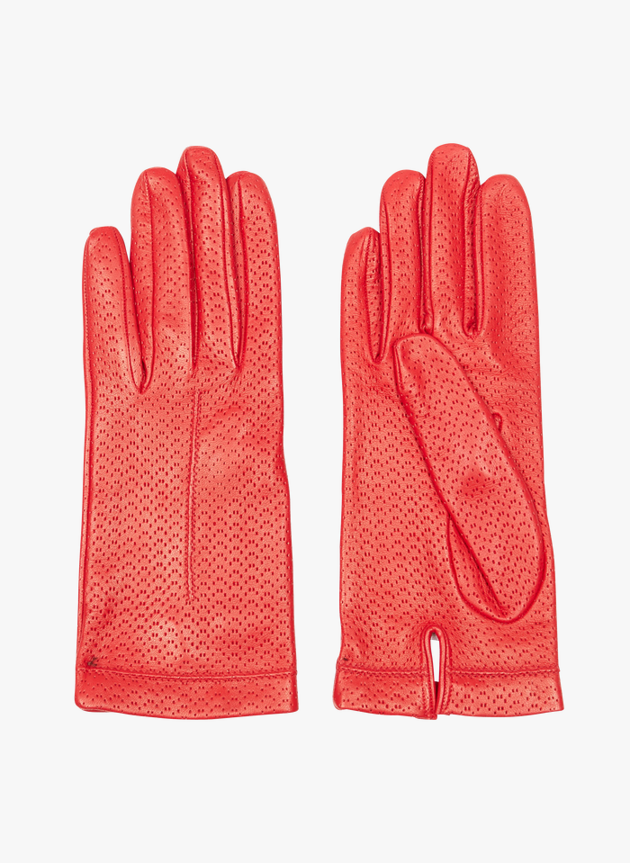 AU PRINTEMPS PARIS Red Perforated leather gloves