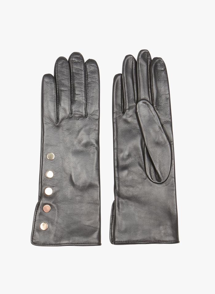 AU PRINTEMPS PARIS Black Studded leather gloves