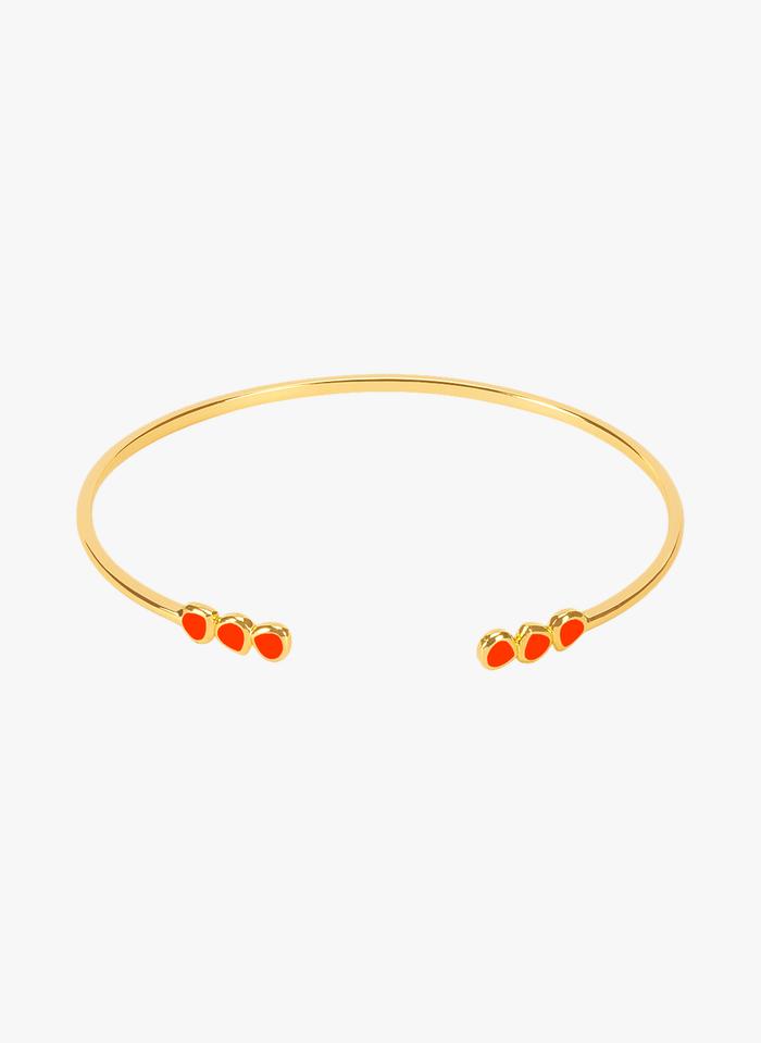 BANGLE UP Orange Adjustable gold-plated and enameled open brass bangle