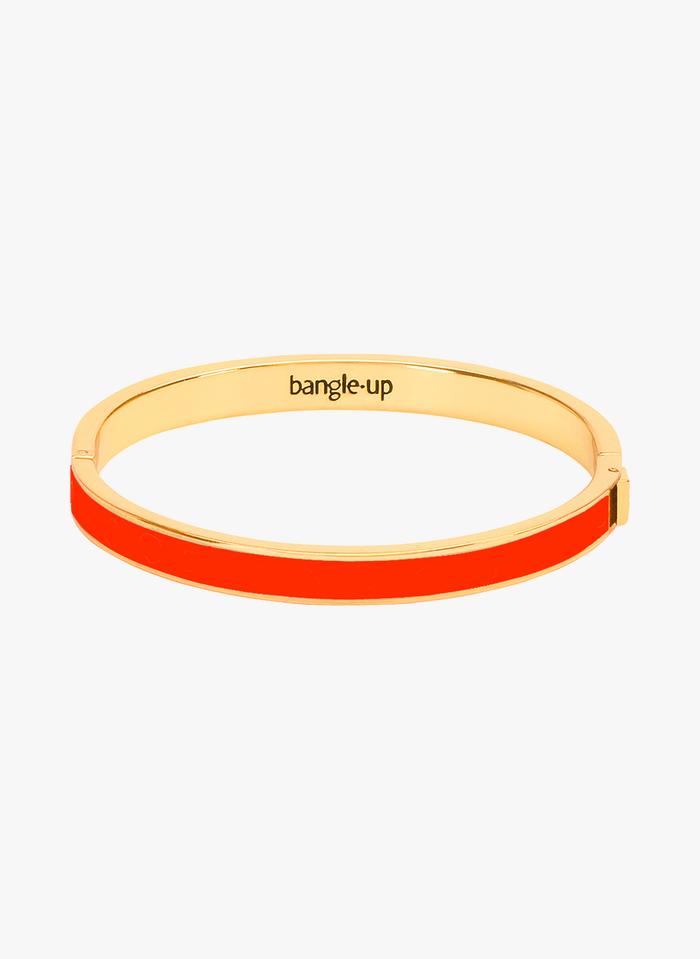 BANGLE UP Orange Enameled golden metal bracelet with clasp