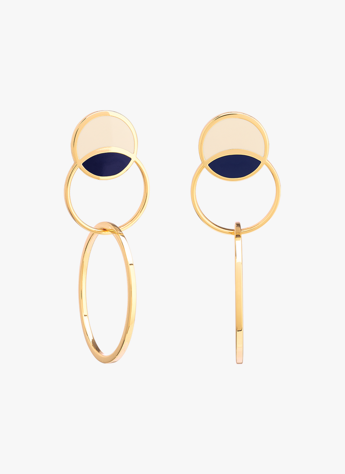 BANGLE UP Multicolored Gold-plated enameled two-tone brass round dangle earrings