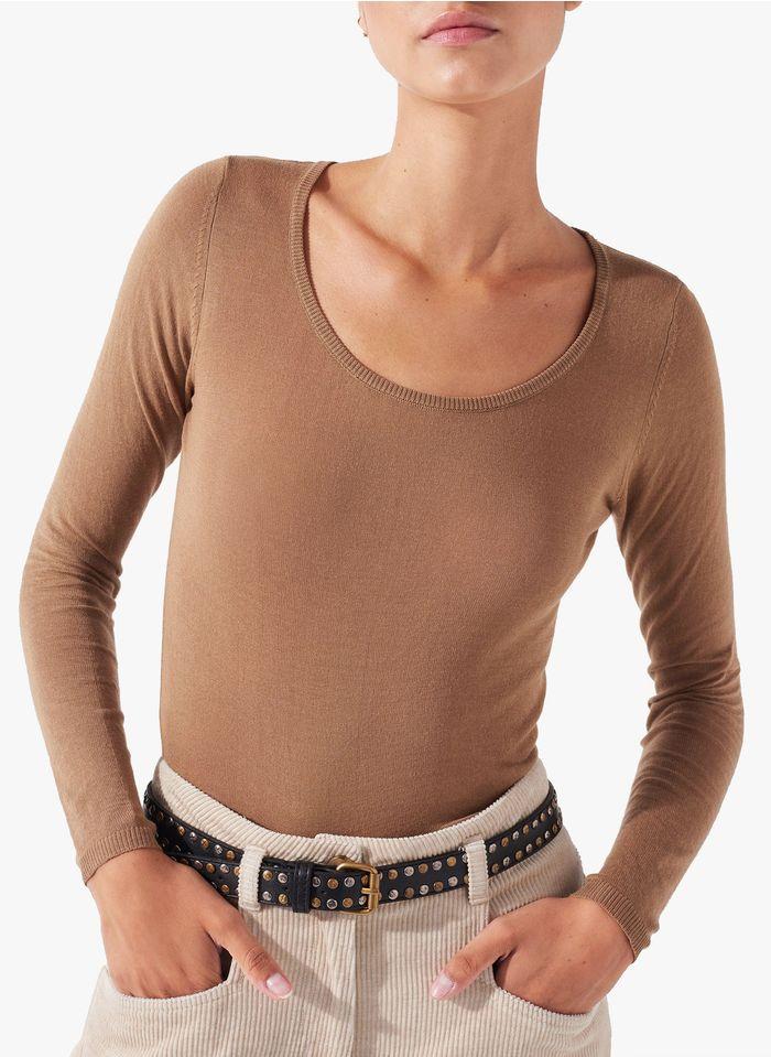COTELAC Beige Fine cotton round-neck sweater