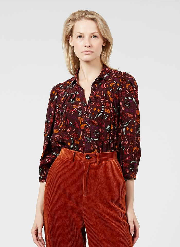 DES PETITS HAUTS Brown Buttoned floral print top with classic collar