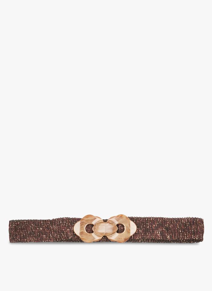 DES PETITS HAUTS Orange Elasticated belt with metallic thread