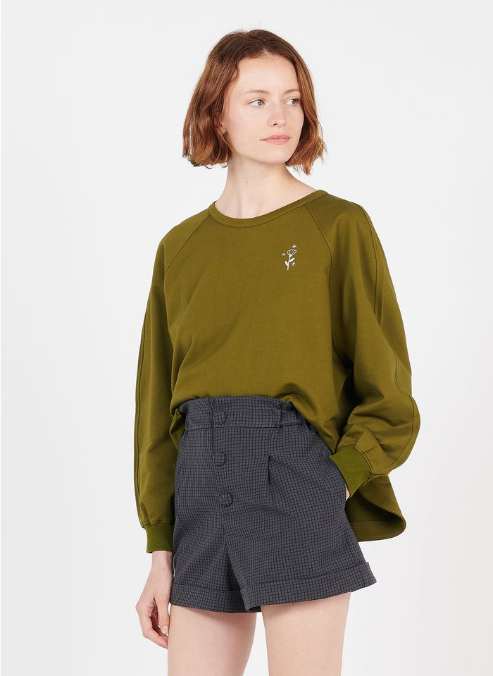 DES PETITS HAUTS Green Embroidered cotton sweatshirt with round neck