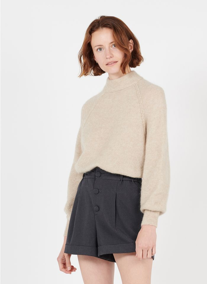 DES PETITS HAUTS Beige Funnel-neck sweater with braided details