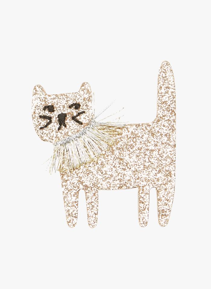 DES PETITS HAUTS Multicolored Glitter cat brooch