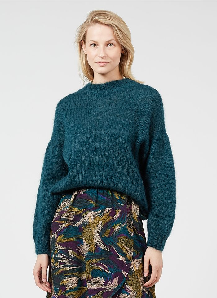 DES PETITS HAUTS Blue High-neck kid mohair and wool sweater