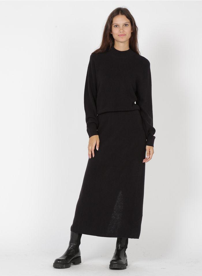 DES PETITS HAUTS Black High-neck maxi dress with slit