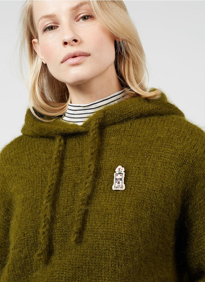 DES PETITS HAUTS Green Kid mohair and wool hooded sweater