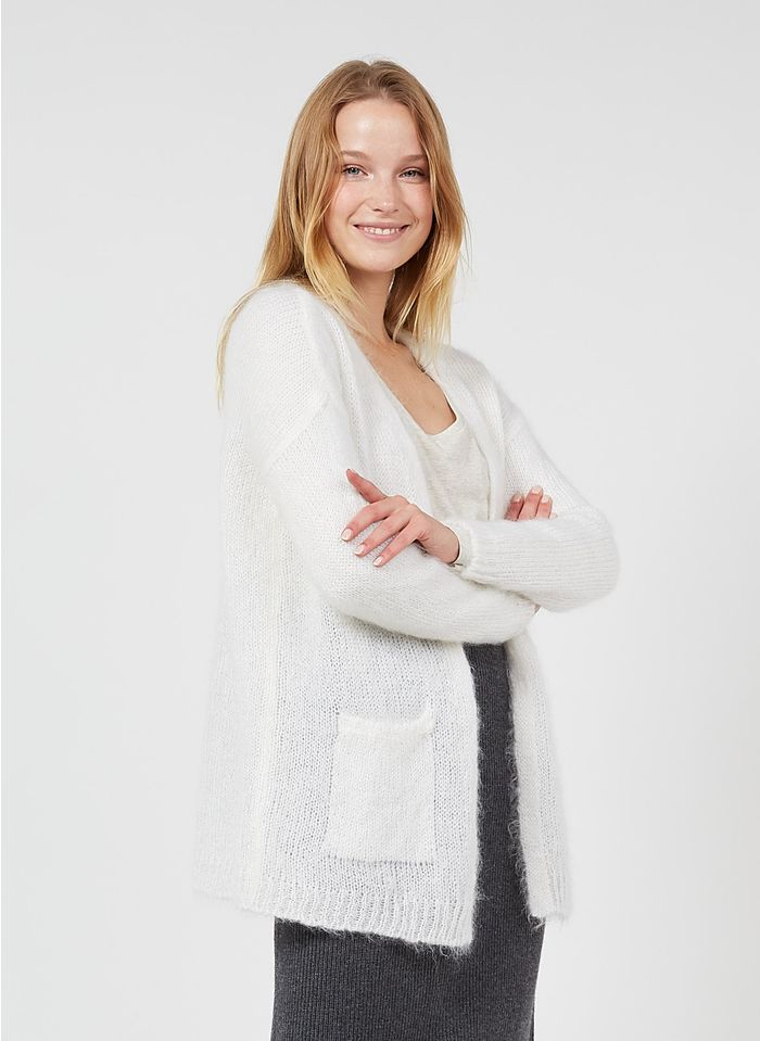 DES PETITS HAUTS White Kid mohair and wool knit cardigan
