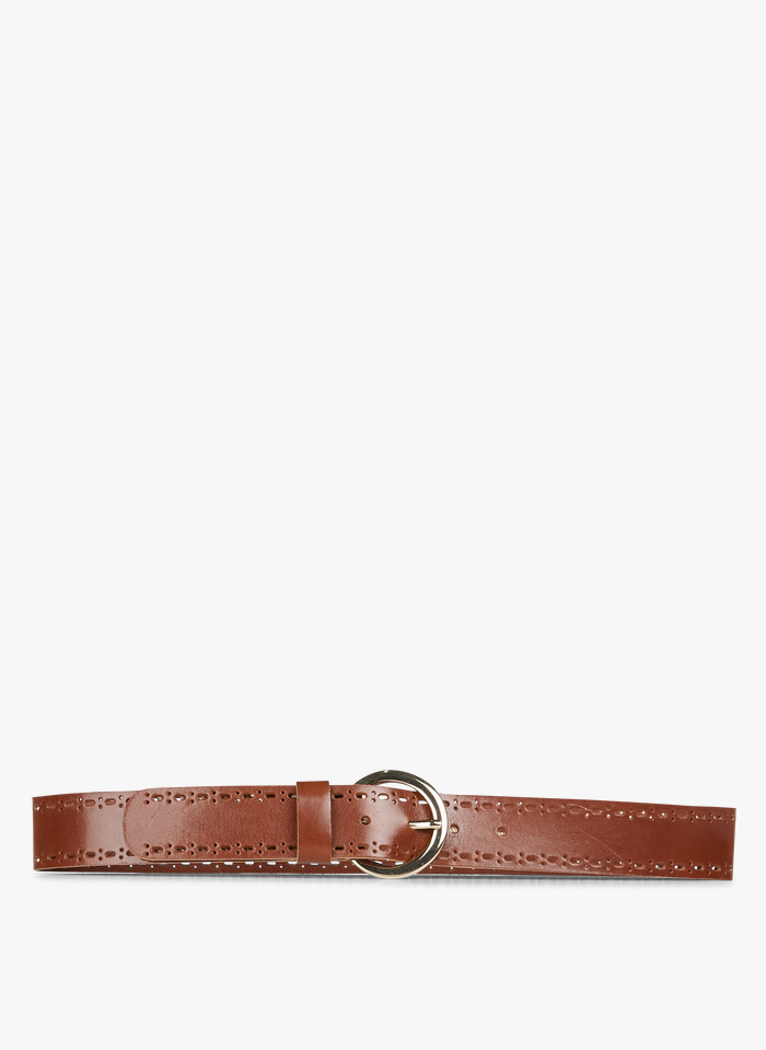 DES PETITS HAUTS Brown Leather belt with buckle