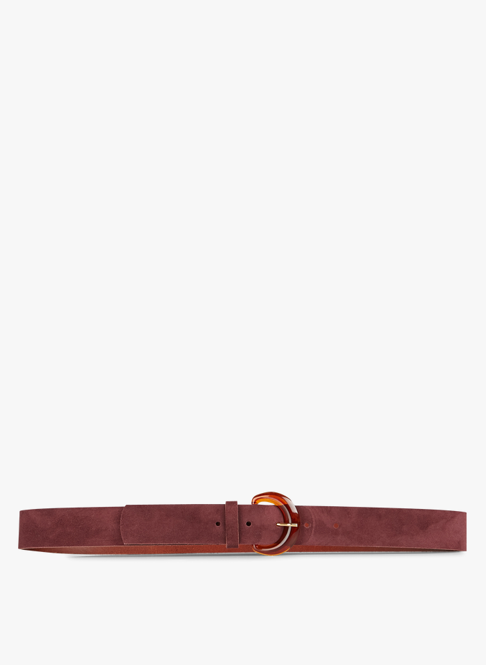 DES PETITS HAUTS Red Leather belt with buckle