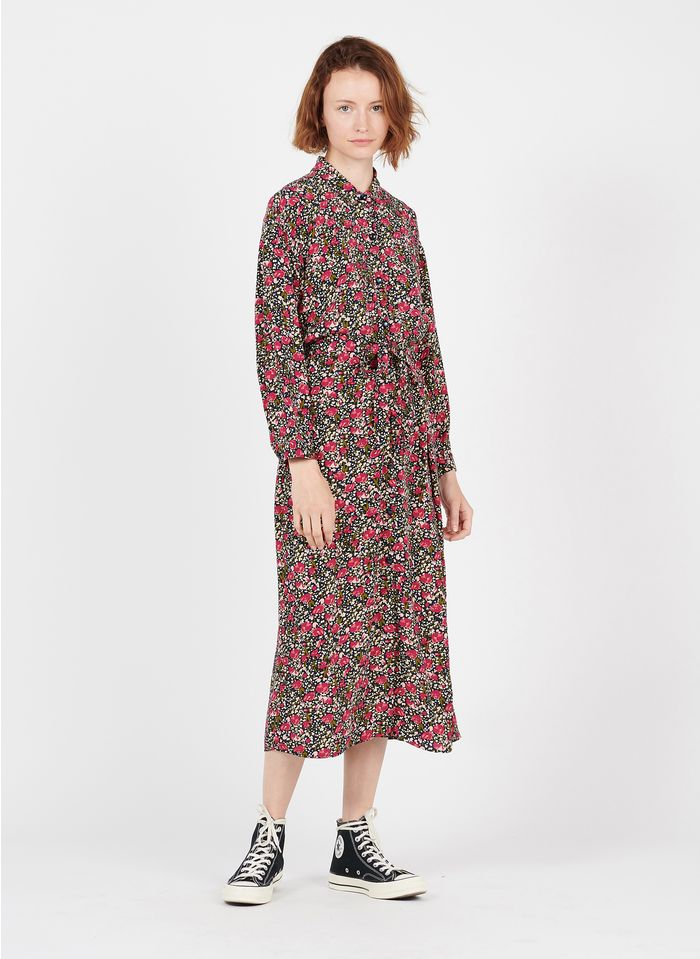 DES PETITS HAUTS Multicolored Long printed dress with classic collar