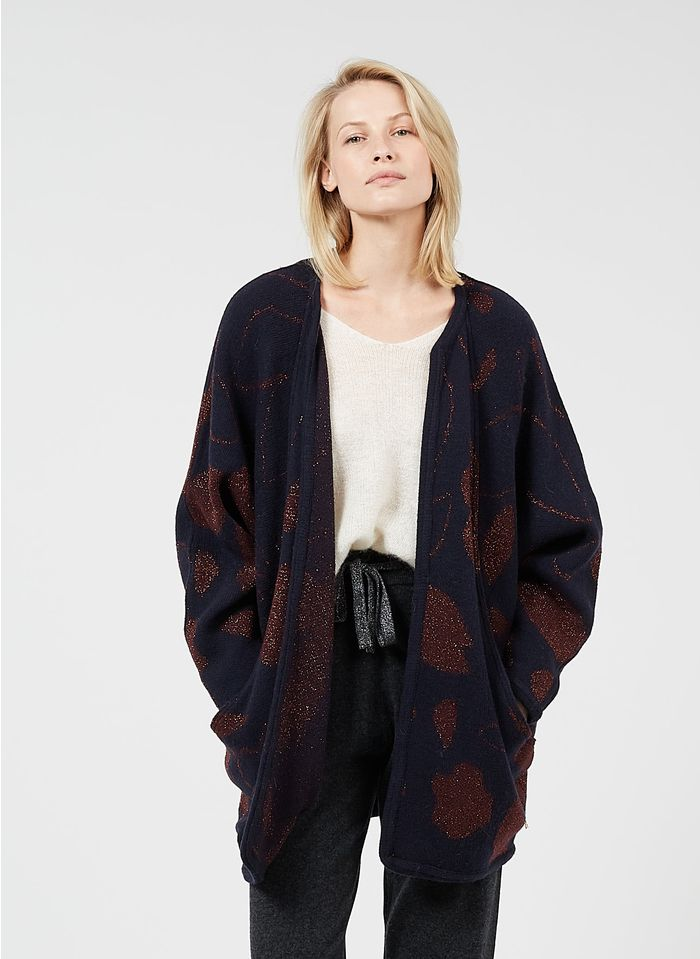 DES PETITS HAUTS Brown Loose-fit printed cardigan with metallic thread