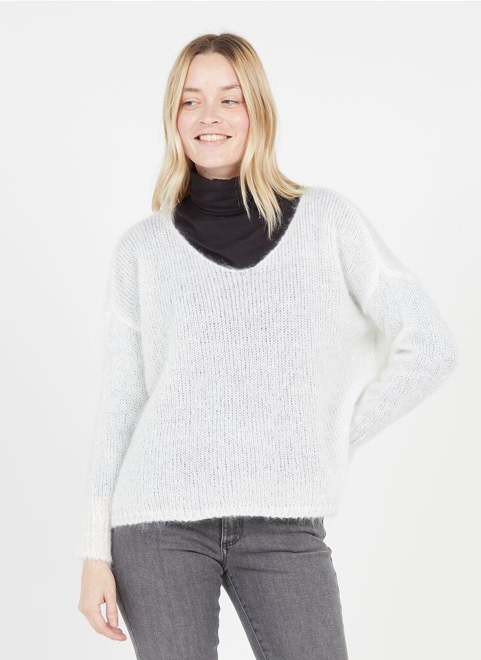 DES PETITS HAUTS White Loose-fit wool-blend V-neck sweater