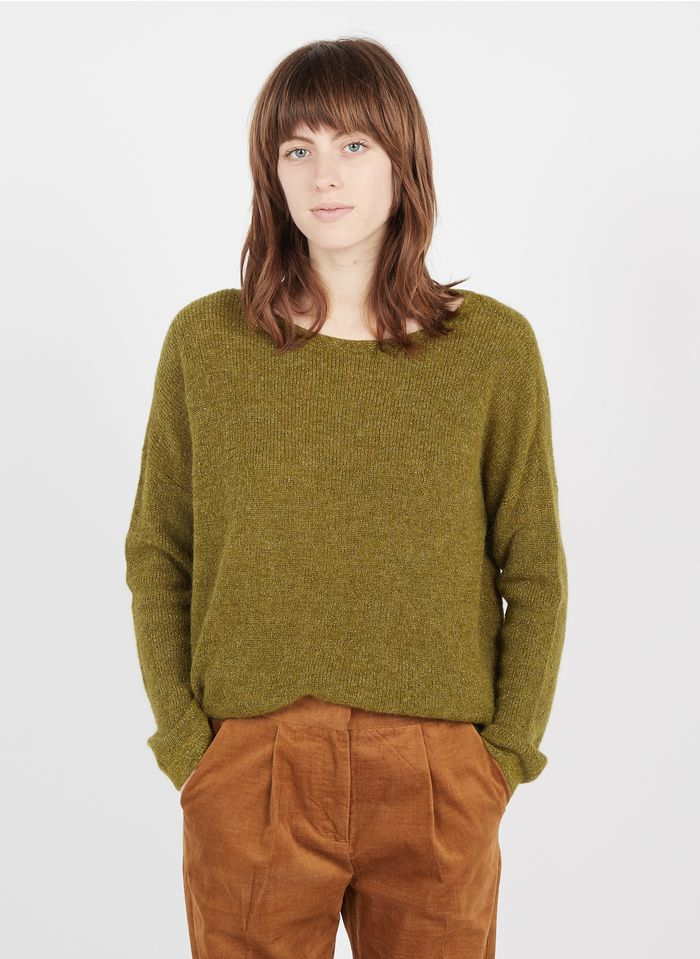 DES PETITS HAUTS Green Mixed-knit boat-neck sweater