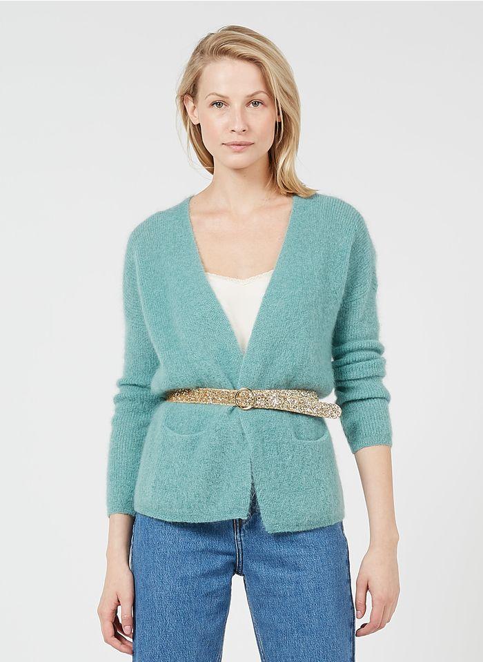 DES PETITS HAUTS Green Mixed-knit open cardigan