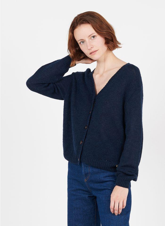 DES PETITS HAUTS Blue Mixed-knit V-neck cardigan