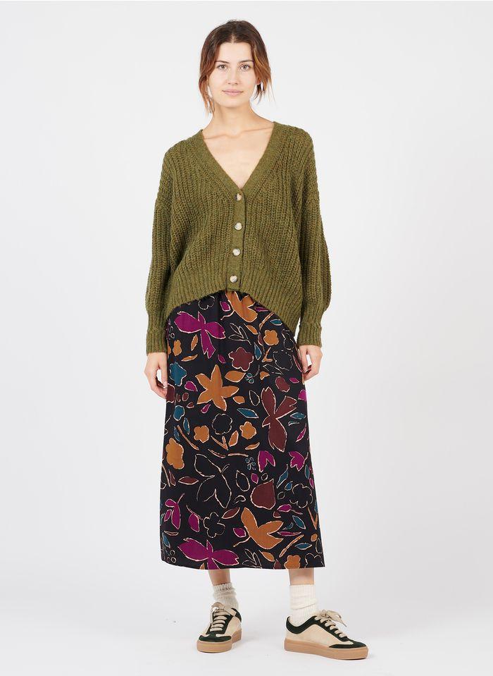 DES PETITS HAUTS Brown Printed midi skirt