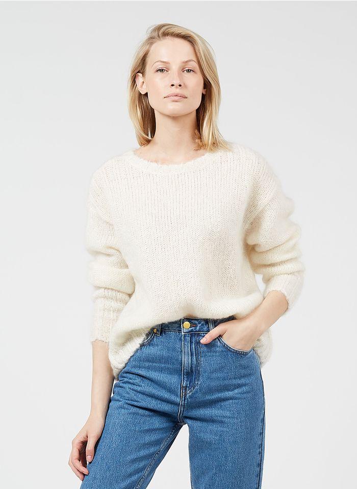 DES PETITS HAUTS White Round-neck kid mohair-blend sweater