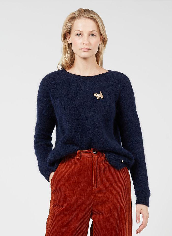DES PETITS HAUTS Blue Round-neck mohair-blend sweater