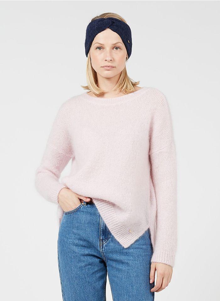 DES PETITS HAUTS Pink Round-neck mohair-blend sweater