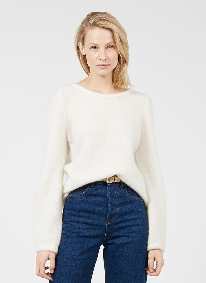 DES PETITS HAUTS White Round-neck mohair-blend sweater with decorative braiding