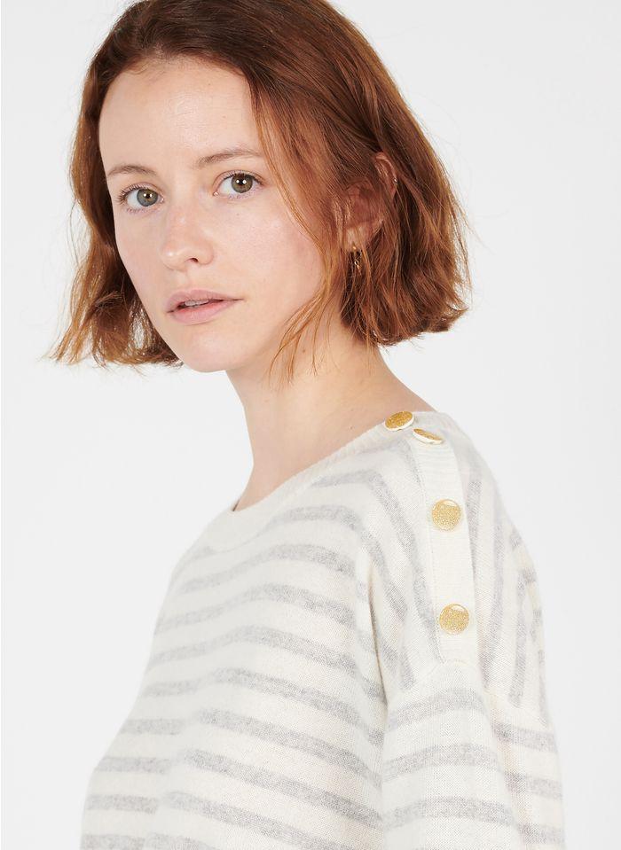 DES PETITS HAUTS White Round-neck striped cashmere sweater