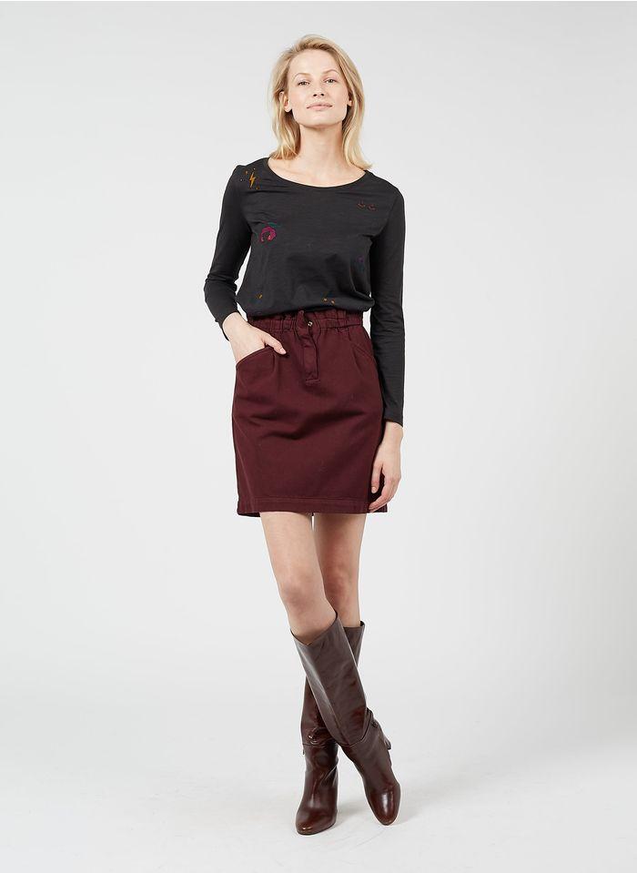 DES PETITS HAUTS Red Short cotton-blend skirt
