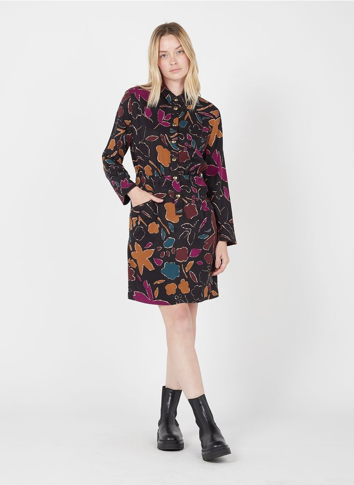DES PETITS HAUTS Brown Short printed dress with classic collar